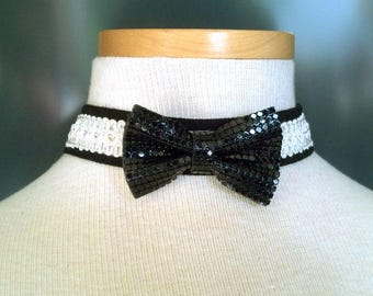 Adorable OOAK black and white Bowtie choker 13 to 16 inches Perfect for formal events!