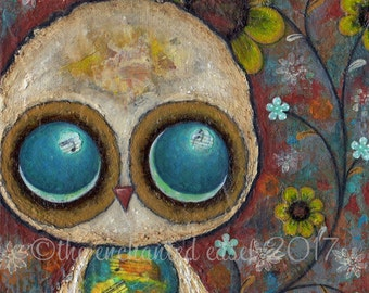 Owl Art Print, Nursery Art, Whimsical, Mixed Media, Flowers, Children's Wall Art, Collage, Bird, Big Eyes, Woodland, Kids Room Decor, Square