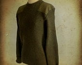 Vintage Woolly Pully Olive Green Wool Sweater, Made in England (44)