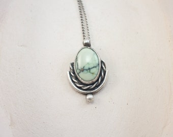 Petite Sterling Silver and Poseidon Variscite Pendant |||  mint green natural stone