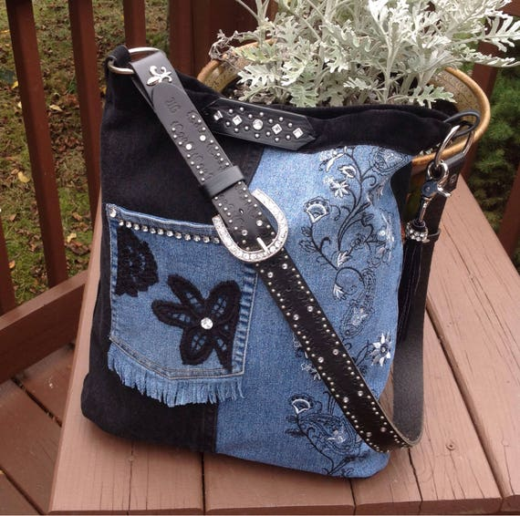 Large Denim cross body or over the shoulder boho messenger bag