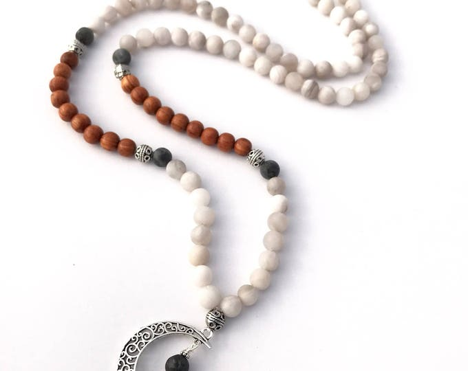 Crescent moon mala necklace