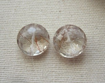 Copper Rutilated Quartz Faceted Coin Beads 11.5mm - Pair