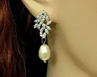 Swarovski Pearl Bridal Earrings, Cz Wedding Earrings, Vines Earrings, Woodland Wedding Jewelry, Dangle Earrings, Bridesmaid Gift, SANGRIA