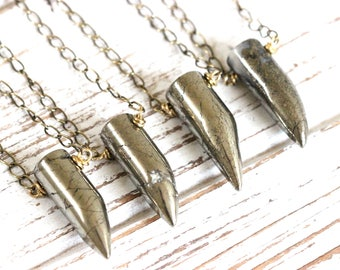 Raw Pyrite Necklace Pyrite Horn Necklace Fang Necklace Talon Necklace Healing Crystals and Stones Gemstone Necklace Pyrite Jewelry Raw Stone