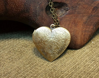 Classic Heart Locket Necklace with Vintage Antique Bronze Finish 24""