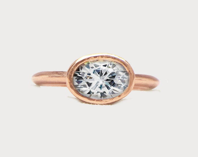 Oval Diamond 14K Rose Gold Engagement ring
