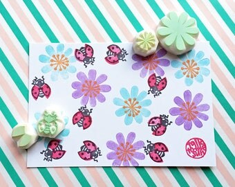 ladybird and flower rubber stamp set, ladybug stamp, insect hand carved stamps, woodland botanical stamp, spring crafts, set of 4, no2