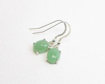 Aventurine Earrings - 10MM x 8MM - Sterling Silver - Dangle Earrings - Cabochon Earrings - Genuine Gemstone