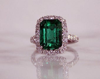 Emerald Engagement Halo Ring, Emerald Cut Gem, Certified Emerald, Engagement Ring, Bridal Ring, Anniversary Gift, Report Included