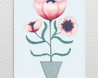 Pink Poppy Card / Pink Poppy Greetings Card / Poppy Birthday Card / Poppy Illustration