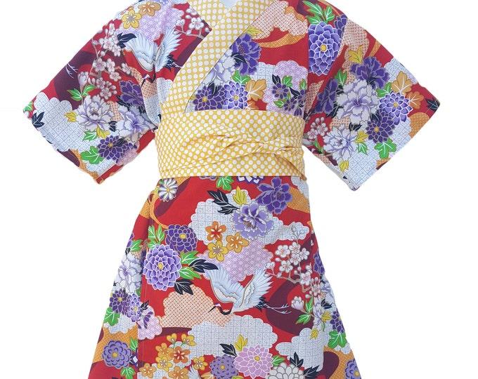Girls Kimono FLORAL CRANE Yukata Modern Kimono Girls Baby Toddler Japanese