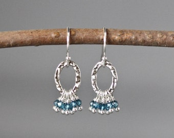 Blue Topaz Earrings - London Blue Topaz - Chandelier Earrings - Blue Gemstones - December Birthstone - Blue Earrings - Blue Quartz Earrings