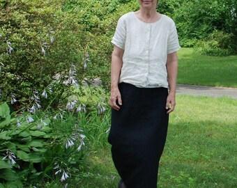 A-Line Long Hemp Skirt black pockets elastic waist