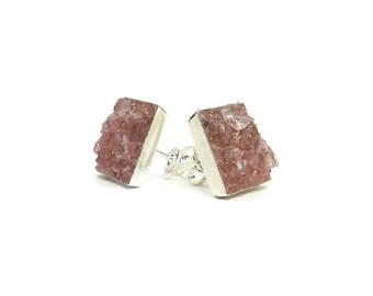 Crushed Tanzurine Quartz Square Earrings Stud Silver Tone Earrings