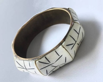 Gorgeous Antique Bovine and Brass Chunky Bangle Bracelet with Porcupine Quill Inlay