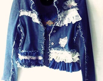 Mori Girl Boho Denim Cropped Jacket. Tattered Shabby Seams. Lace Ruffles Rosettes. French Chic Embroideried Cuffs.