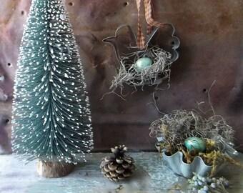 Vintage Tin Chicken Cookie Cutter.  Rustic Farmhouse Prim Kitchen Decor. Woodland Christmas Tree Ornament