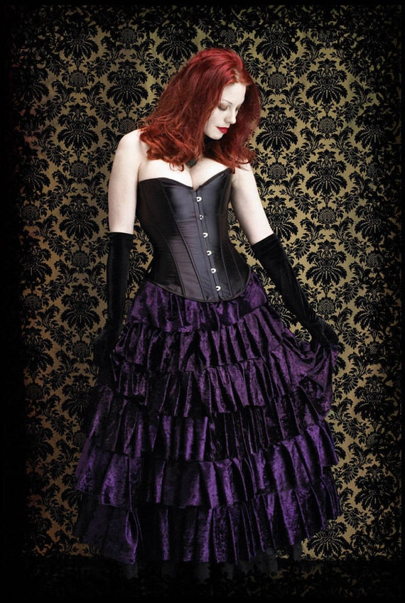 Lenore Fairy Tale Romantic Gothic Tiered Ruffled Velvet Vampire Skirt