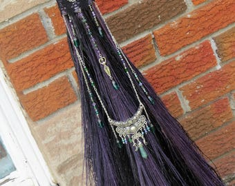 Handfasting Broom/Wedding Broom in Black and Metallic Purple, Wiccan Wedding, Wedding Jump Broom, Witch's Broom, Witchcraft, Pagan, Wiccan