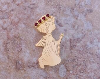 Praying Angel Rhinestone Halo Pin, January Garnet Rhinestone Brooch, Kneeling Angel Rhinestone Pin, Guardian Angel Vintage Pin