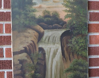 Antique LARGE Waterfall LANDSCAPE Folk Art Oil Painting MOUNTAIN Cabin Decor c1890-1910s