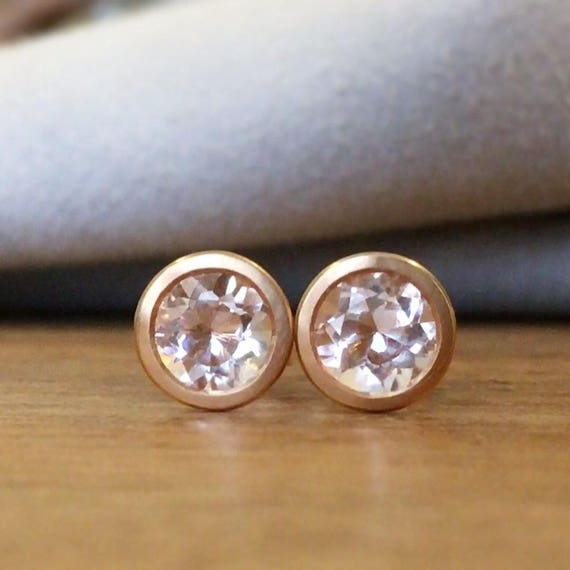 Pink Morganite Cocktail Style Rose Gold Stud Earrings 18k