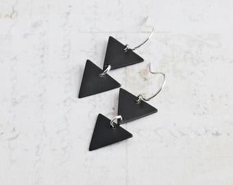 Oxidized Black Two Triangle Dangle Earrings on Silver Plated Hooks (Hand Patina)