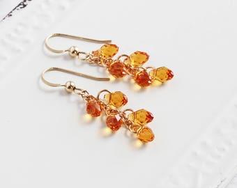 Small Topaz Yellow Crystal Teardrop Cluster Earrings on 14K Gold Filled Hooks (Swarovski Elements)