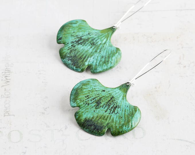 Featured listing image: Verdigris Green Patina Leaf Dangle Earrings on Silver Plated Hooks (Hand Patina)