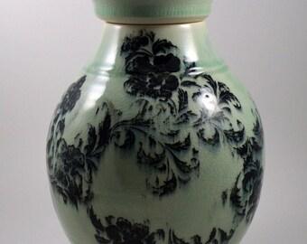 Large Lidded Jar/ Porcelain Urn/ Porcelain Jar/ Aqua Porcelain Jar/ Ceramic Jar/ Handmade Urn/Urn/ Memorial Urn