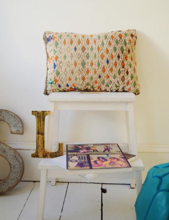 Vintage Moroccan Orange Blue Pattern Kilim Berber Carpet Cushions-lumbar, vintage cushions, christmas gifts, gifts, No.14
