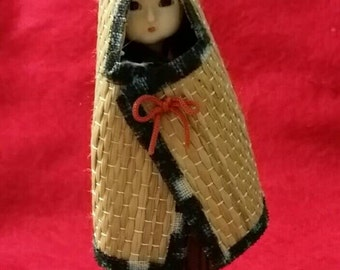 Christmas IN July SALE - Japanese doll, winter straw coat, 1980's vintage