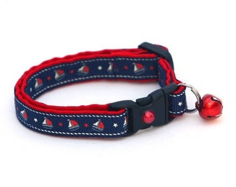 Nautical Cat Collar - Sail Boats on Navy - Kitten or Large Size
