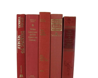 Red Pink Orange Decorative Books, Vintage Books, Gift for Books Lover,  Book Home Decor,  Wedding Decor, Book Decor, Used Books