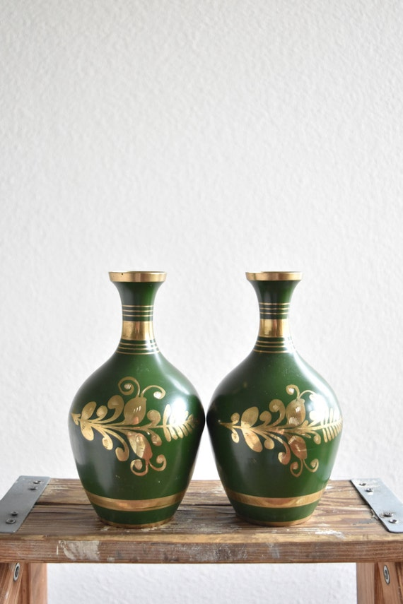 gorgeous pair of vintage solid brass green flower vases