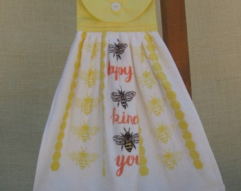 "Honey Bee Hanging Dish Towel, Yellow Kitchen Decor, Saying Towel, ""happy kind you"", Inspirational Towel, Yellow Kitchen Linens, Bumble Bee"
