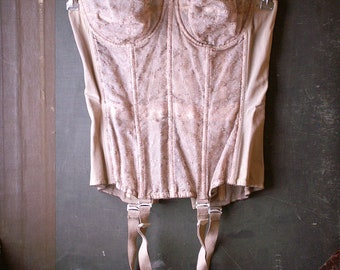 Vintage Nude Merry Widow Long Line Corset from Warners - Stretch Girdle with Adjustable Garter Clips