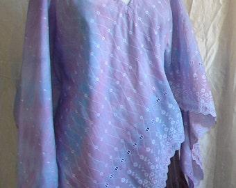 Embroidered Tie dye Top Resort Wear womens clothing cotton top boho top Festival wear Resort Wear bohemian beach cover up lavender purple