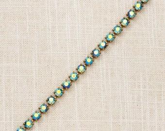 Vintage Bracelet Teal Aurora Borealis Rhinestone Greenish Blue AB Iridescent Sparkly Gold Chain Costume Jewelry 7J