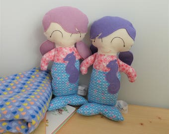 Twin purple mermaid dolls, newborn gift set for twin sisters, soft toy, handmade mermaids, sibling baby and me gifts, CE toys, new baby gift