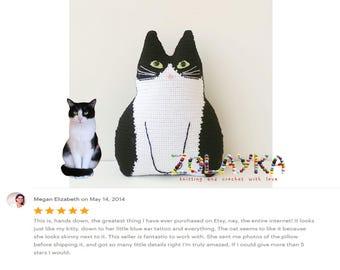 Geh kelte katze spielzeug kissen set schwarz und weiss katze - Personalisiertes kuscheltier ...