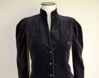 Vintage Black Velvet Jacket - Women's Small - Edwardian, Victorian,