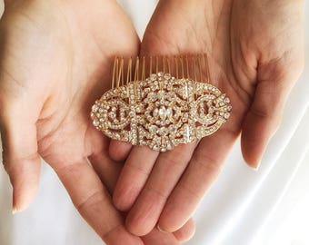 Art Deco Bridal Comb, Gold Crystal Hair Comb, Great Gatsby Wedding combs, Gold Hair Accessories, Vintage Style Hairpiece, Wedding Hair Piece