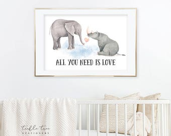 Art Print - All You Need is Love Elephant and Rino (W00041)
