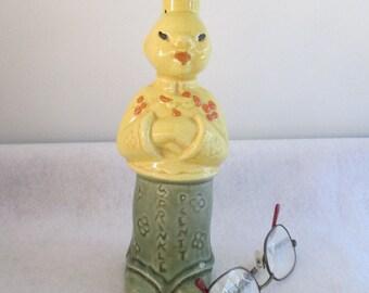 "Sprinkler Bottle, Vintage ""Sprinkle Plenty"" Laundry Ironing Accessory Mid Century Chinese Figurine Asian Decor Cardinal China Green Yellow"