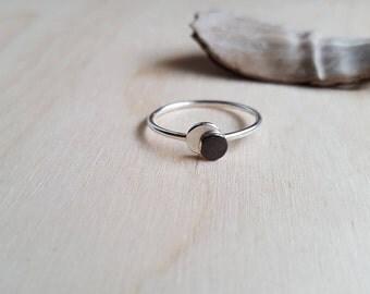 Lunar Eclipse Ring - Silver Disc Ring - Oxidized Disc Ring - Argentium Silver - Stackable Ring - Space Ring - Moon Ring - Lunar Ring