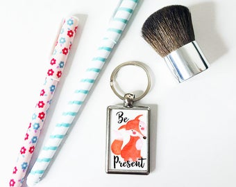 Fox Keychain, Be Present Mindfulness gift for Her Birthday Fox, Cute Fox gift, Car Accessories for Women, Birthday Gift for Friends, Key Fob