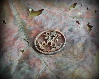 H monogram Coin cut  charm. Half kopeck Russian Empire