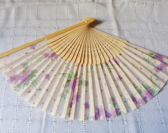 Purple Lily Hand Fan, Folding Cloth Fan with Gold Stars